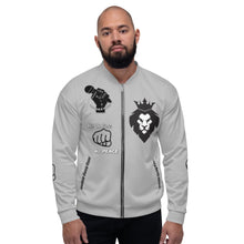 Load image into Gallery viewer, BLM Series - No Justice No Peace Grey Bomber Jacket