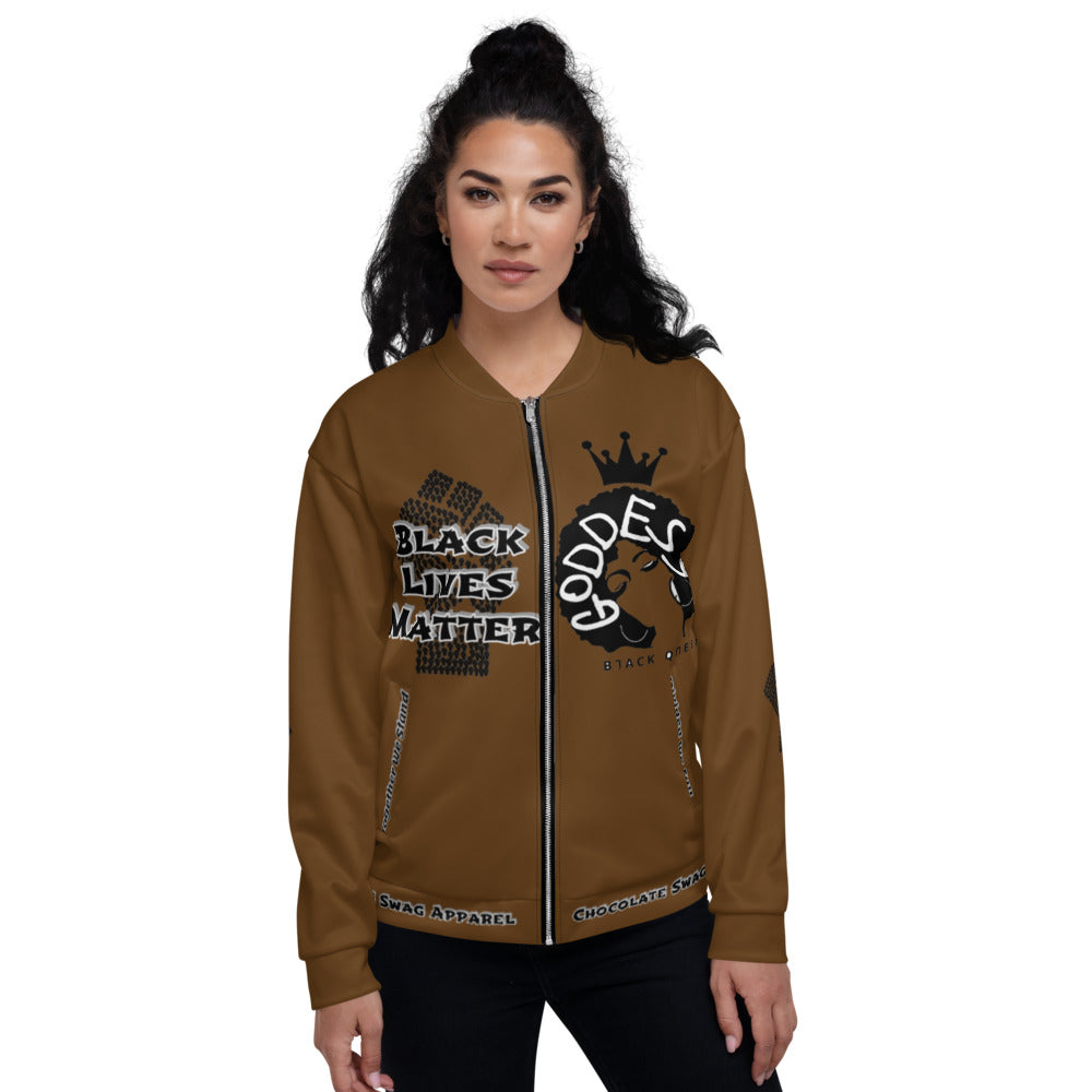 Black Lives Matter Series For Queens Chocolate Bomber Jacket