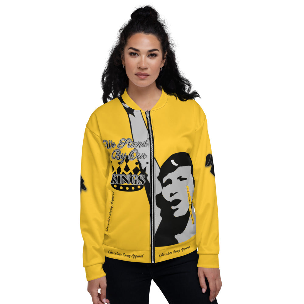 BLM Series- We Stand By Our Kings Yellow Bomber Jacket
