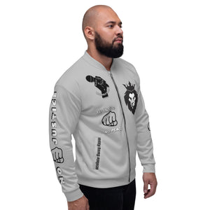 BLM Series - No Justice No Peace Grey Bomber Jacket