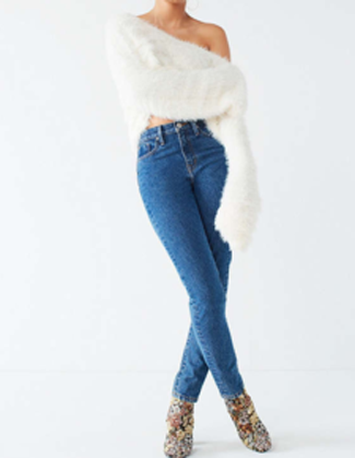 Nice Fuzzy V-Neck Pullover Sweater
