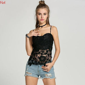 Floral Hollow Lace Tops