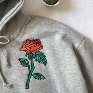 Embroidery Rose Flower Hooded Sweatshirt