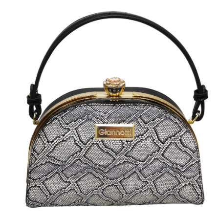 Giannotti Snake Material Design Framed Clutch Bag