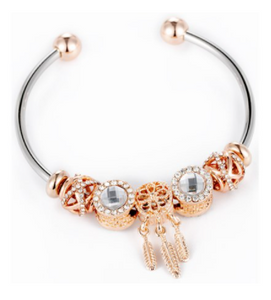 Bead & Crystal Open Bangle - Rose Gold & Clear