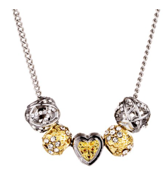 Bead & Crystal Necklace - Silver & Gold