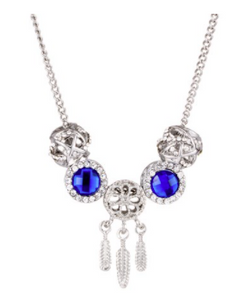 Bead & Crystal Necklace - Silver & Blue
