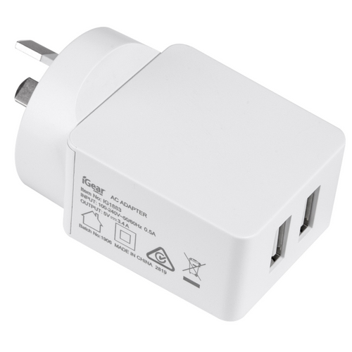 Charger 240V 2USB 3.4Amp White