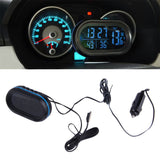 2 in 1 12V / 24V Digital Auto Car Thermometer + Car Battery Voltmeter Voltage Meter Tester Monitor + electronic Clock hot sale