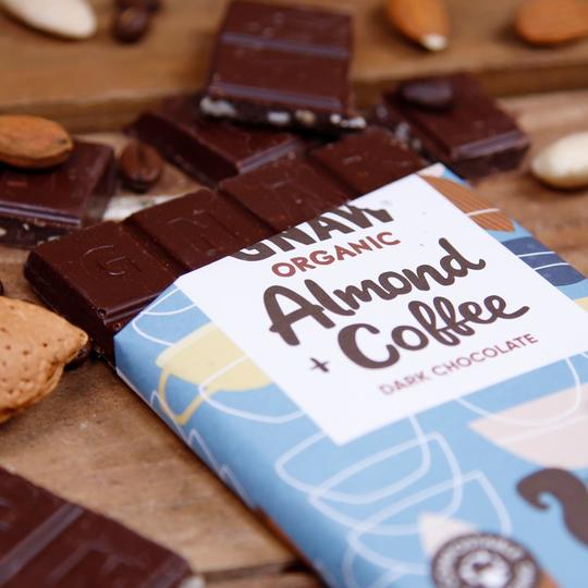 Vegan Organic Almond & Coffee Dark Chocolate