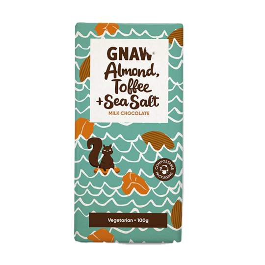 Almond, Toffee & Sea Salt Milk Chocolate Bar  Edit alt text