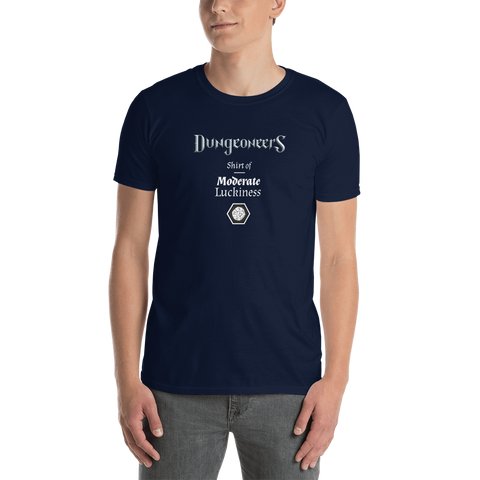 "T-shirt - ""Shirt of Moderate Luckiness"" w/ dice"