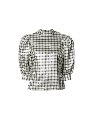 LAGARDE SILK BLOUSE IN SILVER
