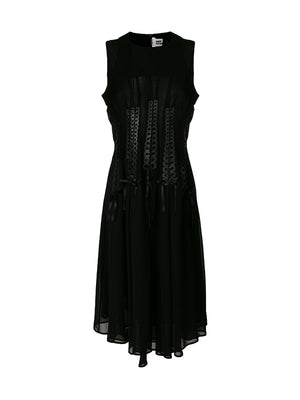 RIBBONED GEORGETTE DRESS IN BLACK
