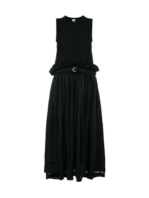 BLACK COTTON BELTED DRESS