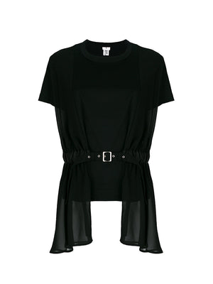 COTTON BELTED TSHIRT IN BLACK