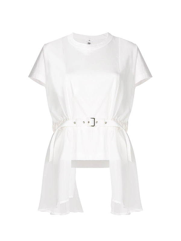 COTTON BELTED TSHIRT IN WHITE
