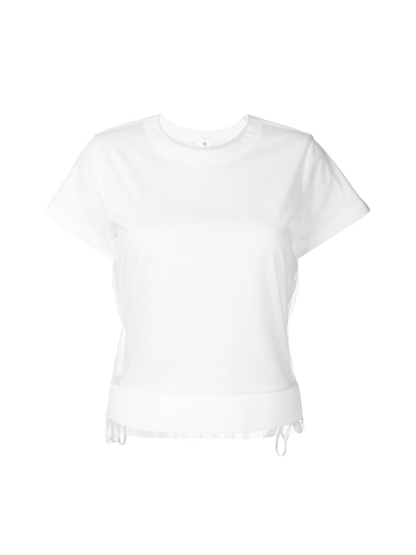 TSHIRT WITH TULLE IN WHITE