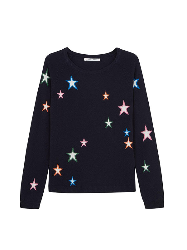 3D STAR SWEATER IN NAVY