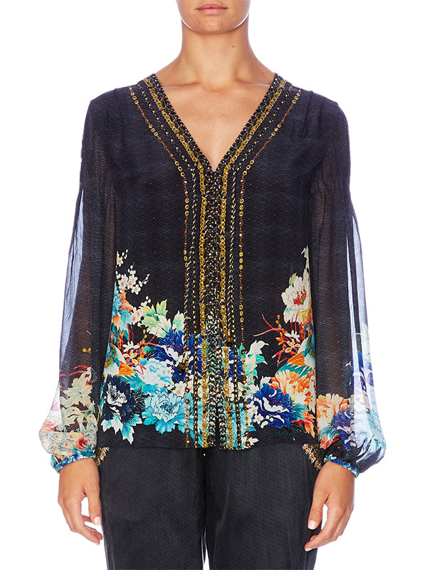 PEASANT BLOUSE W/FRONT LACING IN UP ALL NIGHT