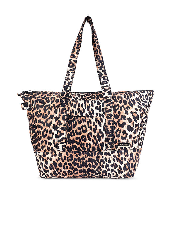Ganni Recycled Tech Packable Tote in Leopard