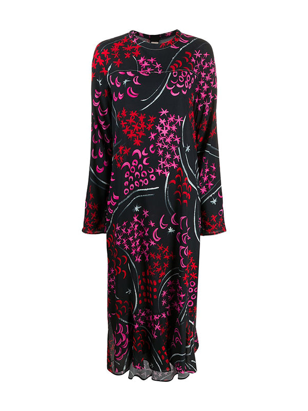 Marni Abstract Midi Dress in Red, Pink and Black Floral