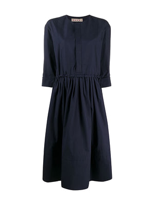 Midi Shirt Dress in Deep Blue