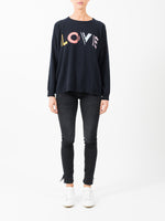 GEOMETRIC LOVE SWEATER IN NAVY