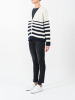 GRADUATED STRIPE CARDIGAN IN CREAM