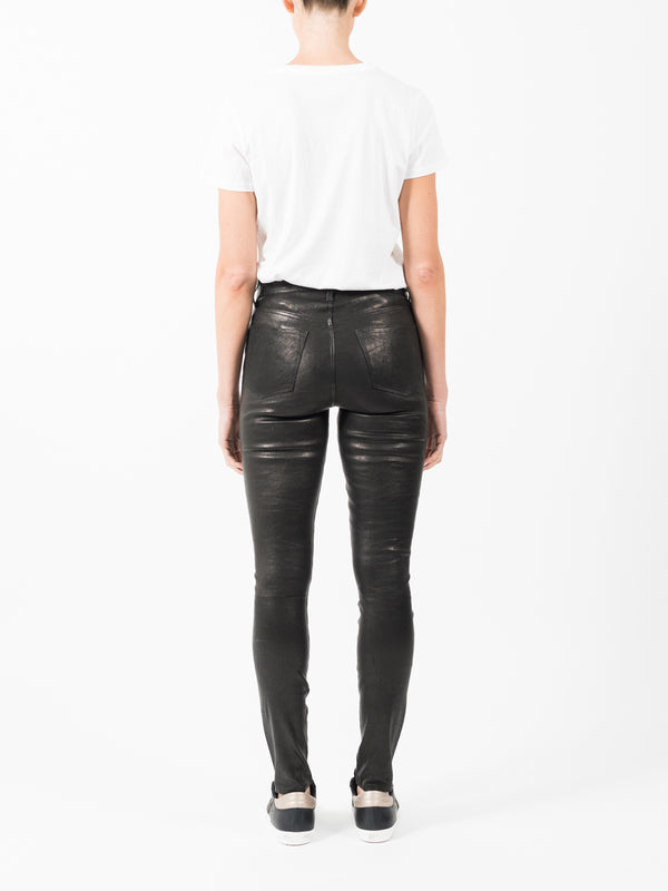 MARIA HIGH RISE LEATHER PANT IN BLACK