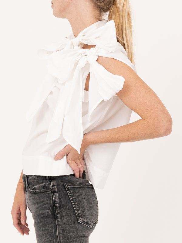 Ganni Cotton Polin Sleevless Top in White
