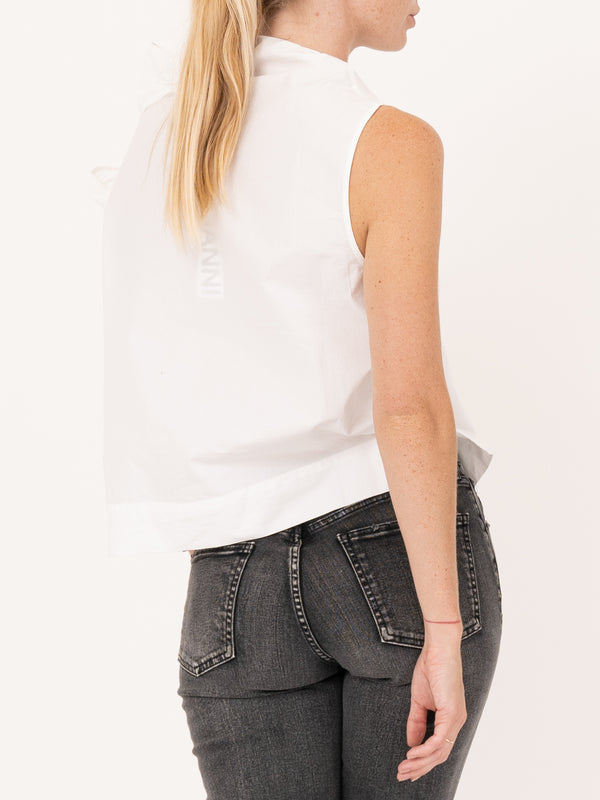 Cotton Polin Sleevless Top in White
