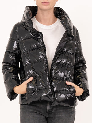 HERNO Shiny Padded Coat in Black