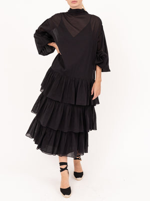 Cecile Voile Dress in Black