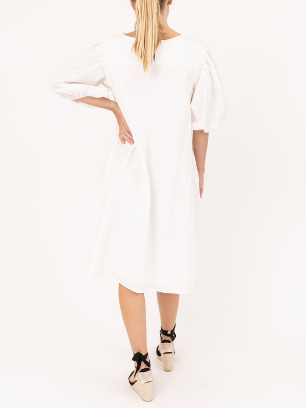 Aster Balloon Sleeve Dress In White