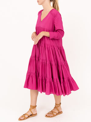 Merlette Rodas Tiered Ruche Dress in Pink