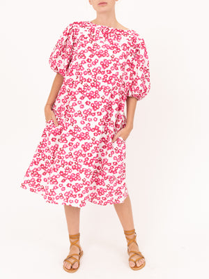 Floral Print Dress in White/Fuschia