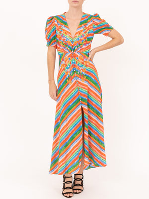 Saloni Lea Long Dress in Watercolour Stripe