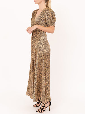 Saloni Lea Long Dress in Leopard
