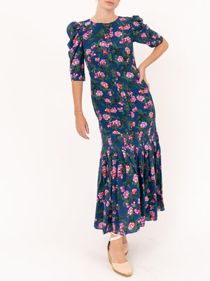 Saloni Colette Long Dress in Blue Azalea