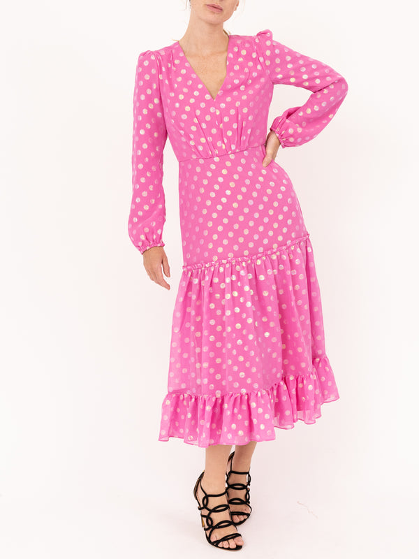 Saloni Devon Dress in Peony Pink