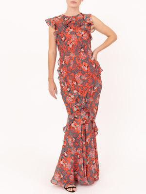 Saloni Tamara B Dress in Ruby Jungle Monkey