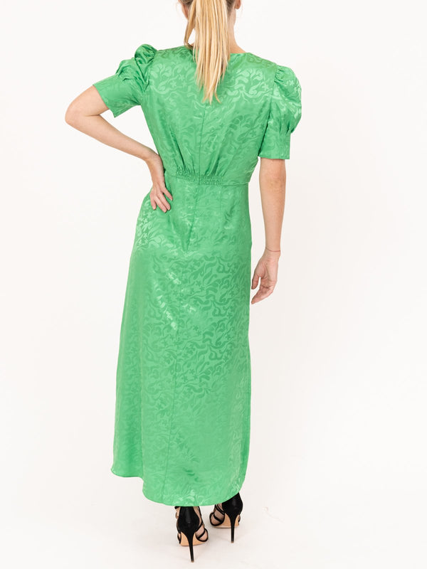 Saloni Bianca Dress in Leaf Green