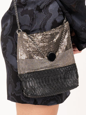 LauraB Eleonora Party Bag in Black/Silver