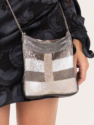 LauraB Leandra Disco Bag IN Silver Stripes