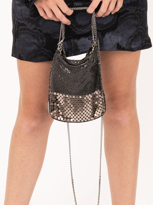 LauraB Elena Disco Bag in Black/Silver