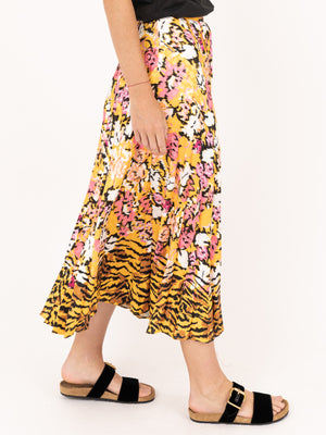 Saloni Kim Skirt in Saffron Cloud Tiger