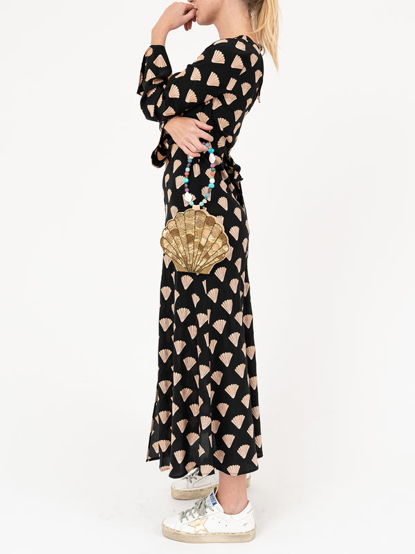 Nora Dress In Gold Foil Shell