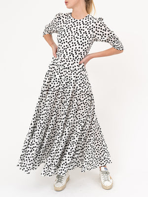 Agyness Tiered Maxi Dress - Polka Dot