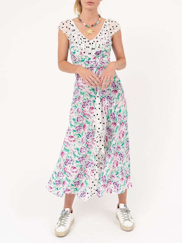 Antoinette Dress In Polka Dot Italian Floral